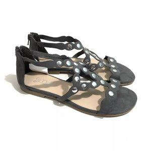 BRASH 8 Grey Faux Suede Studded Zip Back Sandals